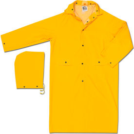 MCR Safety 200CX5 Classic Rain Coat, 5X-Large, .35mm, PVC/Polyester, Detachable Hood, Yellow
