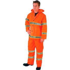 MCR Safety 2013RL Luminator™ 3-Piece Rain Suit, Orange w/ Lime Silver Stripes, Large