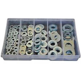 Flat & Lock Washers, SAE, Zinc Plated Steel, Small Drawer Assortment, 16 Items, 860 Pieces by