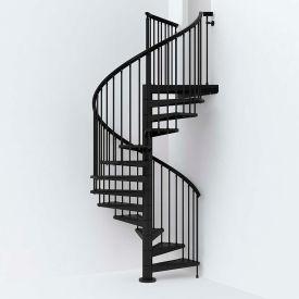"Arké SKY030 Spiral Staircase Kit 63"" Dia. 99-5/8"" to 120-1/2"" Height Range 1000lbs. Cap. Black"