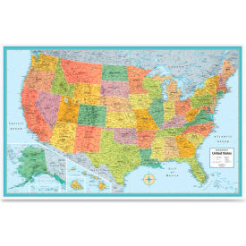 """Rand Mcnally Deluxe United States Wall Map, 50""""W x 32""""H, 1 Each"""