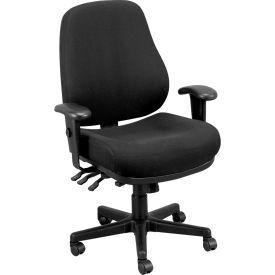 24/7 Executive High Back Chair, 24/7-BLKDOVE, Black Fabric, Adjustable Arms