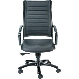 EUROPA Executive High Back Chair, LE111TNM-BLKL, Black Leather, Non-Adjustable Arms