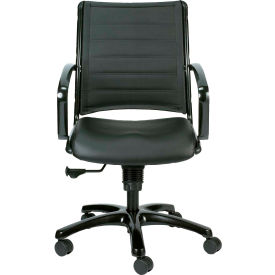 Eurotech Europa Mid Back Chair - Black Leather - Non-Adjustable Arms