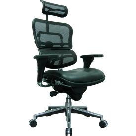 Eurotech Ergohuman Executive High Back Chair - LEM4ERG-BKCOMBO(N) - Black Mesh/Leather