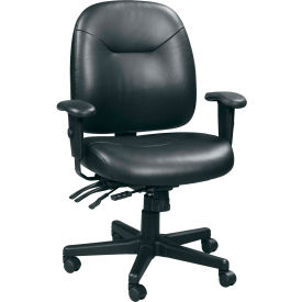 4X4 Task Chair, LM59802A-BLKL, Black Leather, Adjustable Arms