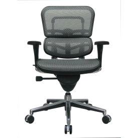 ERGOHUMAN Mid Back Chair, ME8ERGLO-GREY(N), Grey Mesh, Adjustable Arms
