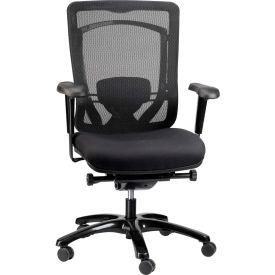 MONTEREY Mid Back Chair, MFSY77, Black Fabric / Mesh, Adjustable Arms