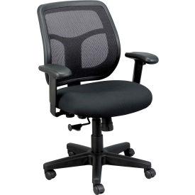 APOLLO Task Chair, MT9400-BK, Black Fabric / Mesh, Adjustable Arms