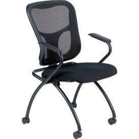 Eurotech Flip Side Chair - Black Fabric / Mesh - Non-Adjustable Arms - 2/PK - Pkg Qty 2