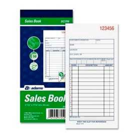 "Adams Sales Order Book, 2-Part, Carbonless, 3-11/32"" x 7-3/16"", 50 Sets/Pad by"