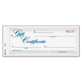 """Adams® Gift Certificate, 2-Part, Carbonless, White/Canary, 8-1/2"""" x 3-3/8"""", 25/Pack"""