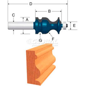 """BOSCH 3-1/4"""" Ogee & Bead With Fillet Router Bit, 84621M, 1"""" Diameter,... from Router Bits"""