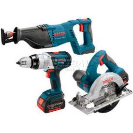 BOSCH® CLPK402-181, 18V 4-Tool Kit W/Brute Tough Hammer Drill Driver, Recip, Circ, FL