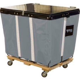 PVC Hinged Top Basket Truck, 6 Bu, Gray Vinyl, Wood Base, All Swivel