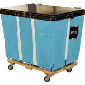PVC Hinged Top Basket Truck, 6 Bu, Light Blue Vinyl, Wood Base, All Swivel