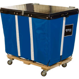 PVC Hinged Top Basket Truck, 8 Bu, Blue Vinyl, Wood Base, All Swivel