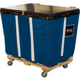 PVC Hinged Top Basket Truck, 8 Bu, Navy Blue Vinyl, Wood Base, All Swivel