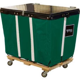 PVC Hinged Top Basket Truck, 14 Bu, Green Vinyl, Wood Base, All Swivel