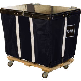 PVC Hinged Top Basket Truck, 14 Bu, Black Vinyl, Wood Base, All Swivel