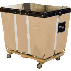 PVC Hinged Top Basket Truck, 14 Bu, Tan Vinyl, Wood Base, All Swivel