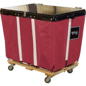 PVC Hinged Top Basket Truck, 18 Bu, Maroon Vinyl, Wood Base, All Swivel