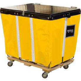 PVC Hinged Top Basket Truck, 20 Bu, Yellow Vinyl, Wood Base, All Swivel