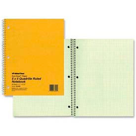 "Rediform® National Green Eye-Ease Wirebound Notebook, 8-1/2"" x 11"", Quad Ruled, 80 Sheets/Pad"