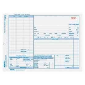 "Rediform® Auto Repair Order Form, 3-Part, Carbonless, 8-1/2"" x 11"", 50 Sets/Pack"