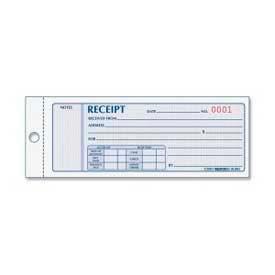"Rediform® Money Receipt Book, 3-Part, Carbonless, 2-3/4"" x 7"", 50 Sets/Book"