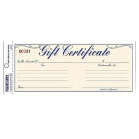 """Rediform® Gift Certificates with Envelopes, 2-Part, Carbonless, Blue, 8-1/2"""" x 3-5/8"""", 25/Pack"""