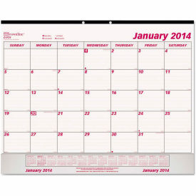 Brownline® Monthly Desk Pad Calendar, 22 x 17, 2019, White/Maroon