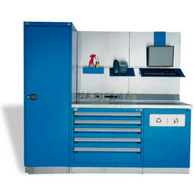 """Rousseau Metal GT Workcenter GT-C1034S_560, One Tool Box, 84""""W, Glossy Sapphire Blue"""