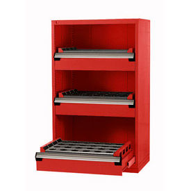 "3 Drawer Tool Storage Cabinet for Taper 50 - 36""Wx18""Dx60""H Red"