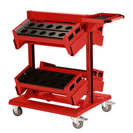 "36"" Centered Mobile Cart for 50 KM - 32""Wx27""Dx41-1/4""H Red"