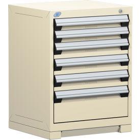 "Rousseau Metal Heavy Duty Modular Drawer Cabinet 6 Drawer Bench High 24""W - Beige"
