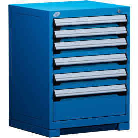 """Rousseau Metal Heavy Duty Modular Drawer Cabinet 6 Drawer Bench High 24""""W - Avalanche Blue"""