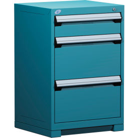 "3 Drawer Counter High 24""W Heavy-Duty Cabinet - Everest Blue"