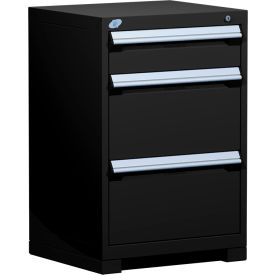 "Rousseau Metal Heavy Duty Modular Drawer Cabinet 3 Drawer Counter High 24""W - Black"