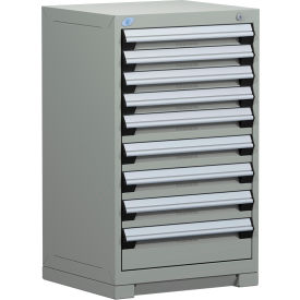 "Rousseau Metal Heavy Duty Modular Drawer Cabinet 9 Drawer Counter High 24""W - Light Gray"
