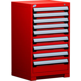 """Rousseau Metal Heavy Duty Modular Drawer Cabinet 9 Drawer Counter High 24""""W - Red"""