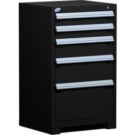 "Rousseau Metal Heavy Duty Modular Drawer Cabinet 5 Drawer Counter High 24""W - Black"