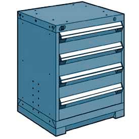 "Rousseau Metal Heavy Duty Modular Drawer Cabinet 4 Drawer Bench High 24""W - Everest Blue"