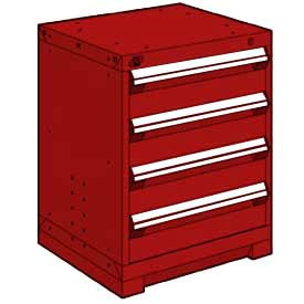 """Rousseau Metal Heavy Duty Modular Drawer Cabinet 4 Drawer Bench High 24""""W - Red"""