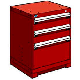 "3 Drawer Bench High 24""W Heavy-Duty Cabinet - Red"