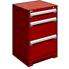 """Rousseau Metal Heavy Duty Modular Drawer Cabinet 3 Drawer Counter High 24""""W - Red"""