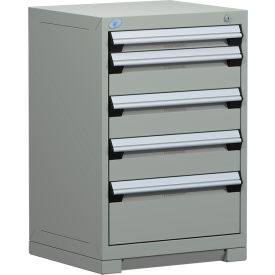 "Rousseau Metal Heavy Duty Modular Drawer Cabinet 5 Drawer Counter High 24""W - Light Gray"