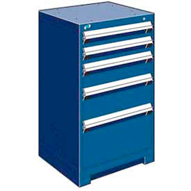 """Rousseau Metal Heavy Duty Modular Drawer Cabinet 5 Drawer Counter High 24""""W - Avalanche Blue"""
