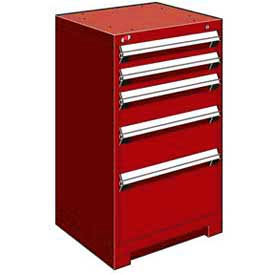 """Rousseau Metal Heavy Duty Modular Drawer Cabinet 5 Drawer Counter High 24""""W - Red"""