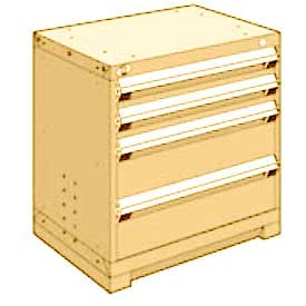 "Rousseau Metal Heavy Duty Modular Drawer Cabinet 4 Drawer Bench High 30""W - Beige"